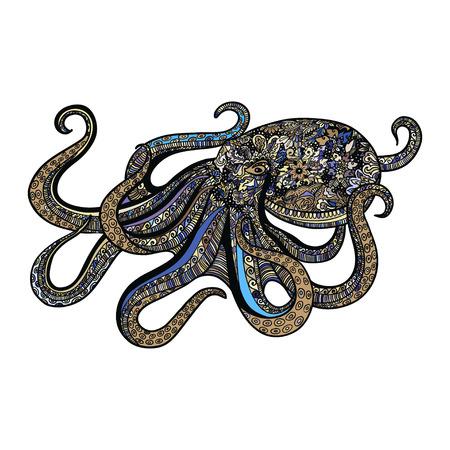 style octopus  illustration of sea animal doodles design . 免版税图像 - 64570814