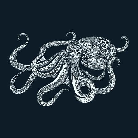 海動物落書きデザインのスタイル タコ イラストを巻き込みます。