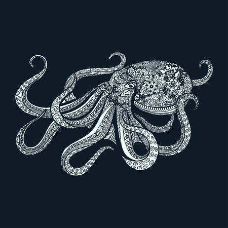 entangle style octopus  illustration of sea animal doodles design .