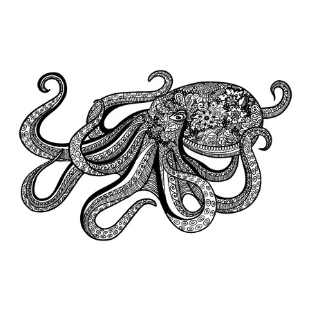 illustration isolated: style octopus  illustration of sea animal doodles design . Illustration