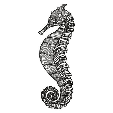 gestileerde zwarte Sea Horse. illustratie op een witte achtergrond. Schets Sea collectie