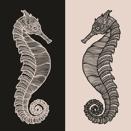 indian fish: stylized black and beige Sea Horse. illustration isolated on beige and black background. Sketch Sea collection