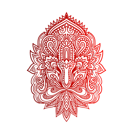 mhendi: Vector ornamental Lotus flower, ethnic art, patterned Indian paisley. Hand drawn illustration. Invitation element. Tattoo, astrology, alchemy, boho and magic symbol