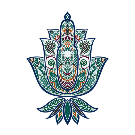 Vector ornamental Lotus flower, ethnic art, patterned Indian paisley. Hand drawn illustration. Invitation element. Tattoo, astrology, alchemy, boho and magic symbol