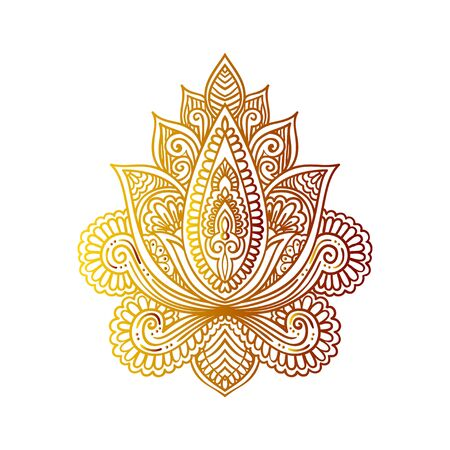 Vector ornamental Lotus flower, ethnic art, patterned Indian paisley. Hand drawn illustration. Invitation element. Tattoo, astrology, alchemy, boho and magic symbol