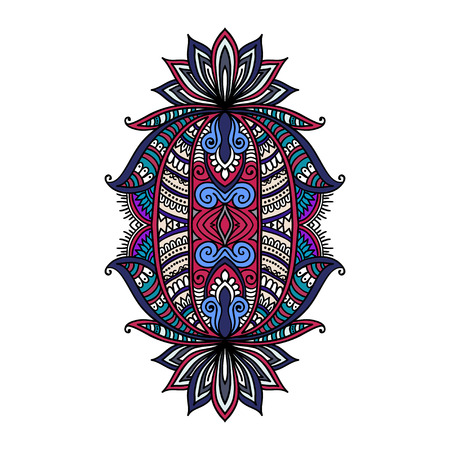 Vector ornamental Lotus flower, ethnic art, patterned Indian paisley. Hand drawn illustration. original design in doodle and zentangle style. Tattoo, astrology, alchemy, boho and magic symbol Illustration