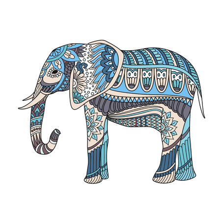 Elefante Indio En Estilo Asiático Tradicional. Elefante Adornado En ...