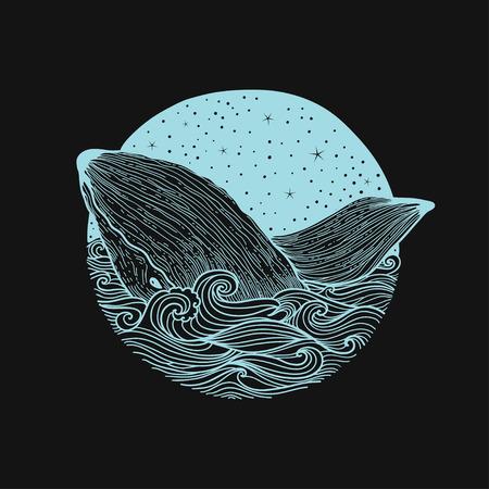 splash page: Whale jumping out of the waves on a night starry sky and curl waves background with doodle zentangle elements, design for clothing print, cards,invitations, printing cover.
