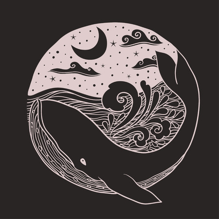 Whale jumping out of the waves on a night starry sky and curl waves background with doodle zentangle elements, design for clothing print, cards,invitations, printing cover