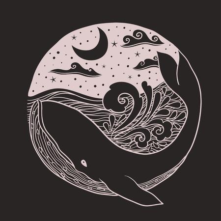 Wieloryb skaczący z fal na nocne niebo gwiaździste i falujące fale z elementami z zwojów sztucznych, projekt graficzny odzieży, karty, zaproszenia, okładka Ilustracje wektorowe