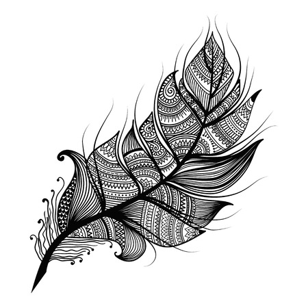 Artistically drawn, stylized, vector feather in zentangle style isolated on white background, relax antistress coloring page for adult. Vintage tribal feather. Series of doodle feather