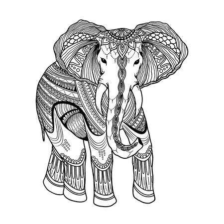 Hermoso Elefante Indio En Zentangle Ornamento De Estilo Asiático ...