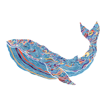 Hand drawn vector outline whale illustration. multicolored Decorative ornamental whale drawing with waves and curls. design for cards,prints and other. Illustration
