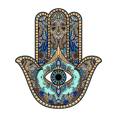 Illustration multicolore d'un symbole de main de hamsa. Signe religieux de la main de Fatima avec tout l'?il visible. Style bohème vintage. Illustration vectorielle dans le style zentangle doodle. Banque d'images - 69591500