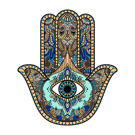 hand colored: multicolored illustration of a hamsa hand symbol. Hand of Fatima religious sign with all seeing eye. Vintage bohemian style. Vector illustration in doodle zentangle style.