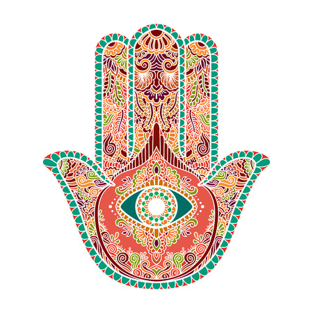 multicolored illustration of a hamsa hand symbol. Hand of Fatima religious sign with all seeing eye. Vintage bohemian style. Vector illustration in doodle zentangle style.