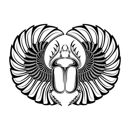 Hand drawn vintage tattoo art. Vector illustration, symbol of pharaoh, Resurrection element of life ancient Egypt, linear style. Scarab beetle, god sun Ra, wings and ankh. Isolated. White background