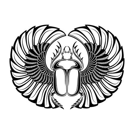 R? Cznie rysowane zabytkowe tatuaż sztuki. Ilustracji wektorowych, symbol faraona, element Zmartwychwstania życia starożytnego Egiptu, styl liniowy. Scarab chrząszcz, bóg słońca Ra, skrzydła i ankh. Odosobniony. białe tło Ilustracje wektorowe