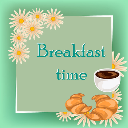 Breakfast time banner with coffee cup croissant and daisy vector illustration. Doodles style.