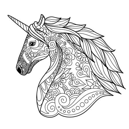 Dibujo estilo del zentangle unicornio para colorear, tatuaje, diseño de la camisa, logotipo, muestra. ilustración estilizada del unicornio caballo en el estilo de dibujo maraña.