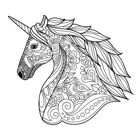 Drawing unicorn zentangle style for coloring book, tattoo, shirt design, logo, sign. stylized illustration of horse unicorn in tangle doodle style. 矢量图像