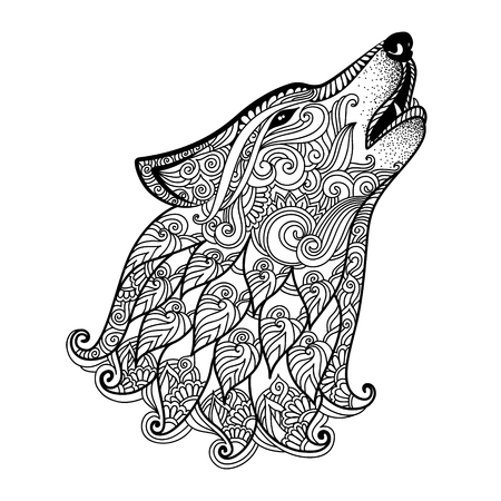 Hand Gezeichneter Wolf Mit Ethnischem Blumengekritzelmuster