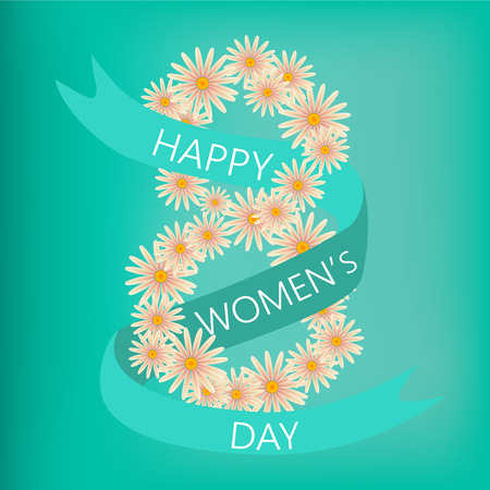 wallpaper International Women s Day: March 8 greeting card in flat style