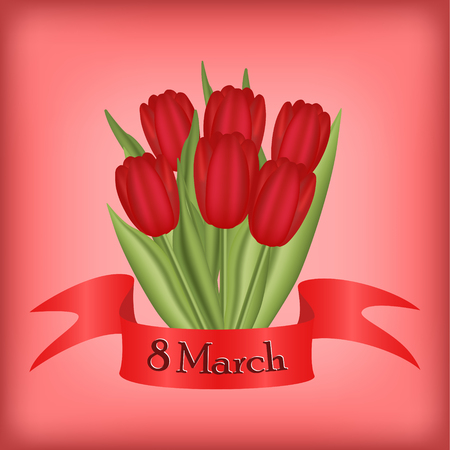 femine: March 8 greeting card with happy womens day quote, floral tulip design. romantic femine style in pastel red colors Illustration