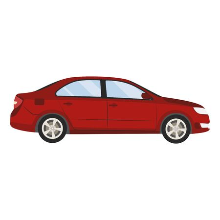 Car vector template on white background. Business sedan isolated. red sedan flat style.