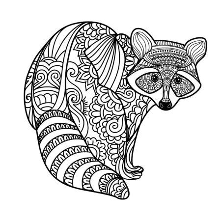 Procione. Animale di doodle disegnato a mano bianco nero. Illustrazione di vettore modellato etnico. Africano, indiano, totem, tribale, design zentangle. Schizzo per colorare, tatuaggio, poster, stampa, t-shirt