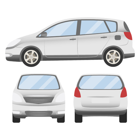 white car vector template. Isolated family vehicle set on white background. Vector illustration with gradient colors