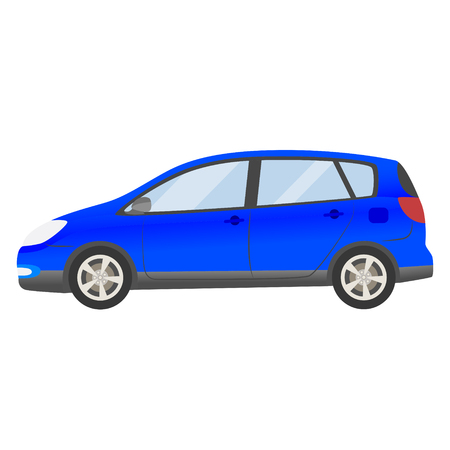 blue car vector template. Isolated family vehicle set on white background. Vector illustration with gradient colors