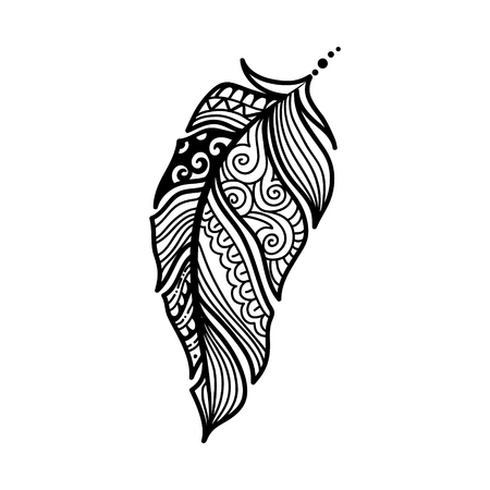 Ethnic feathers. Tribal Feathers Vintage Pattern. Hand Drawn Doodle and zentangle illustration. stylized linear style. Illustration
