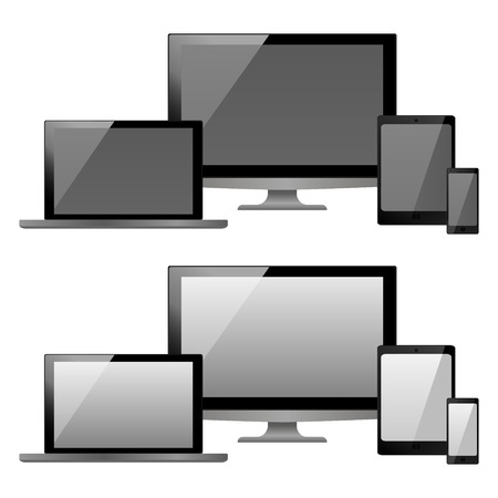 vector illustration modern monitor, computer, laptop, phone, tablet on a white background Vettoriali