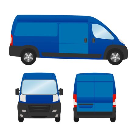 Delivery van template for presentation and ad vector mock up. isolated on white background, blue van vehicle set template back front side view.
