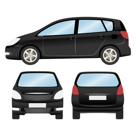 Auto-Vektor-Vorlage auf weißem Hintergrund. Fließheck isoliert. Business-Design, schwarzes Fließheck Auto
