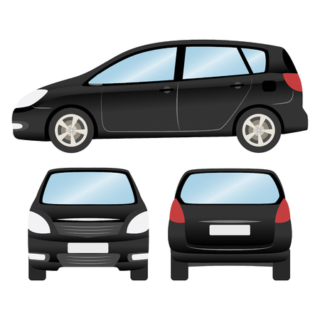 Car vector template on white background. Hatchback isolated. business design, black hatchback car