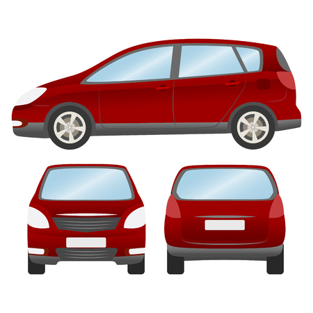 Car vector template on white background. Hatchback isolated. business design,mock up red white hatchback car Illustration