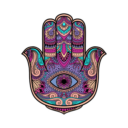 multicolored illustration of a hamsa hand symbol. Hand of Fatima religious sign with all seeing eye. Ilustração
