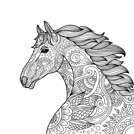 stylized hand drawn Head horse coloring page for adults vector illustration. Anti-stress coloring for adult. zentangle style. Black and white lines. Lace pattern.