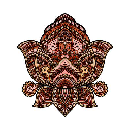 Stylized vector multicolored ornamental Lotus flower, ethnic art, patterned Indian paisley. Hand drawn illustration. Invitation element.
