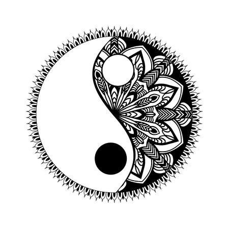 흑백 음과 양 장식 기호. 손으로 그린 된 빈티지 스타일 디자인 요소입니다. 만다라 장식 낙서 t 얽힌 스타일 일러스트