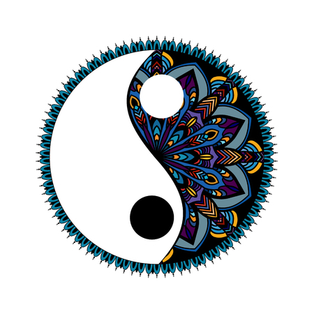 multicolored Yin yang decorative symbol. Hand drawn vintage style design element. mandala ornament doodles in zen tangle style Ilustração