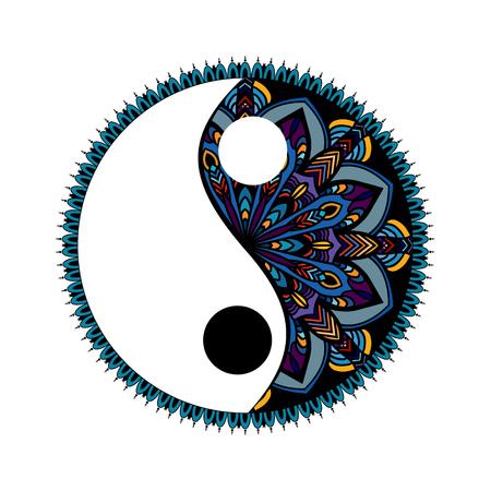 Símbolo decorativo multicolor de Yin yang. Dibujado a mano elemento de diseño de estilo vintage. Doodles del ornamento de la mandala en estilo del enredo del zen