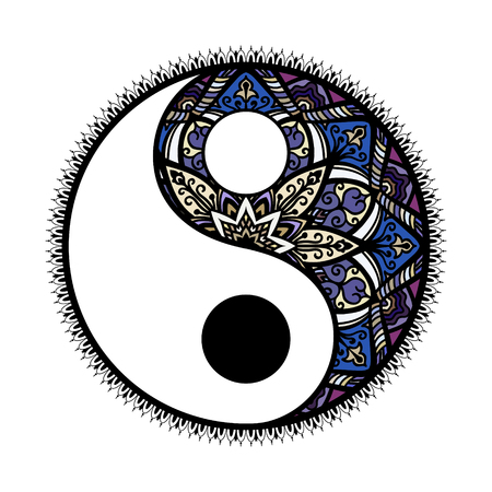 Stylized Yin and yang Tao mandala symbol.multicolored Round Ornament Pattern. Vector isolated illustration. Paisley. Vintage decorative oriental symbol of harmony, balance.
