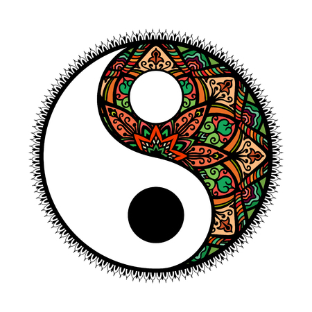 stylized Yin and yang Tao mandala symbol.multicolored Round Ornament Pattern. Vector isolated illustration. Paisley background. Vintage decorative oriental symbol of harmony, balance.