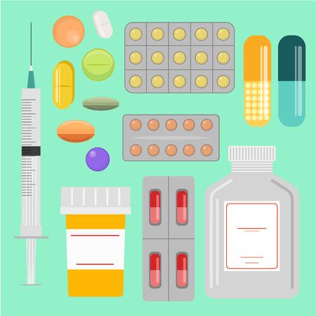 Medicina e farmaci icone. illustrazione vettoriale stile piatto