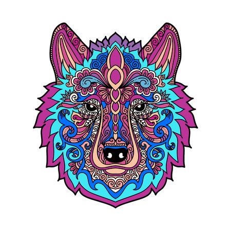 Dibujado A Mano Lobo De Color Con Estilo étnico Doodle Floral