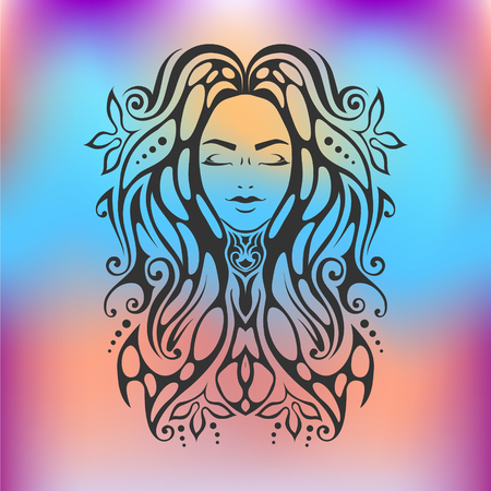 Tribal tattoo illustration of girl face with close eyes and hair Beautiful divine girl with ornate hair.