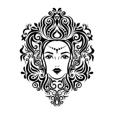 Tribal tattoo illustration of girl face and hair Beautiful asian princess divine girl with ornate hair. Adult anti stress coloring book page. Bohemian goddess.Hand drawn outline elegant illustration